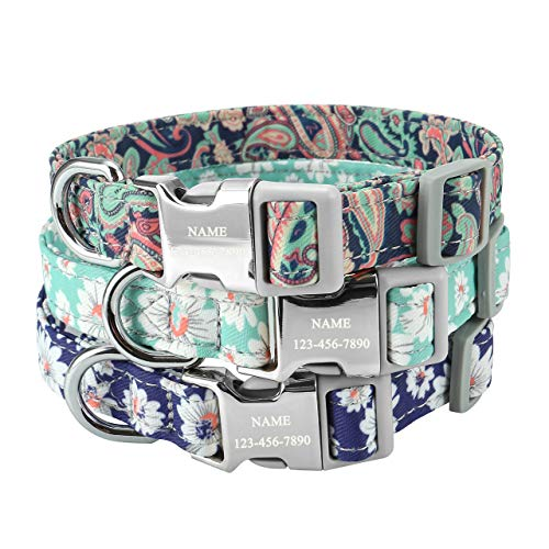 Mogoko Custom Engraved Floral Dog Collar, Personalized ID Name/Phone/Address Engraved Puppy Pet Collars with Metal Buckle for Small Medium Large Dogs(M Size, Bohemia)