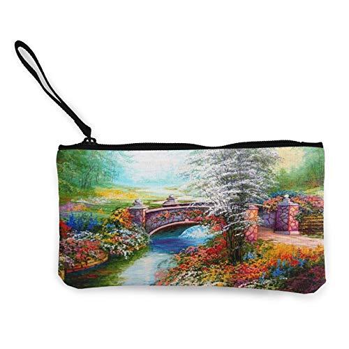 Moneta in tela, bella borsa a ponte, borsa per cosmetici da viaggio, multifunzionale, borsa per il trucco, borsa per cellulare, portapenne con manico
