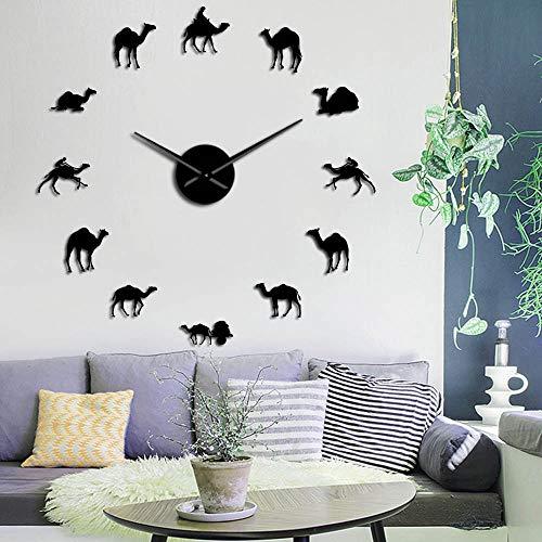 Camel Large DIY Wall Clocks Dromedary Arabian Desert Spirit Animals Home Interior Art Decor Frameless Silent Wall Watch (Negro,47inch) Regalos Originales para los Amantes de los Videojuegos de acció