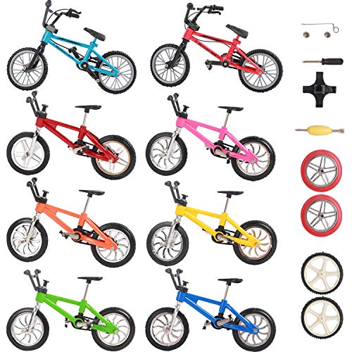 VANKERTER 8pcs Mini Finger Bikes Mini Extreme Sports Finger Bicycle Accessories Metal Toy Creative Game Gifts with Finger Skateboards for Fun