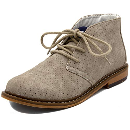 Nautica Kids Puget Youth Boys Lace Up Dress Chukka Boot-Puget Youth-Taupe Perforated-3