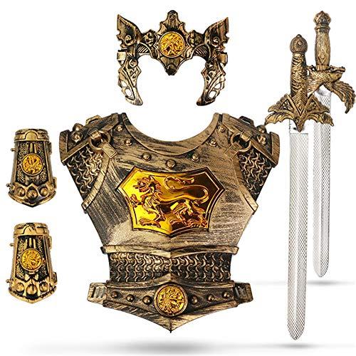 Lvbeis Medievale Costume da Armatura Cavaliere Giocattolo per Cavaliere di Halloween Bambini Guerriero Cosplay, Dell'armatura Bambini Guerriero Cosplay(3-8 Anni),A