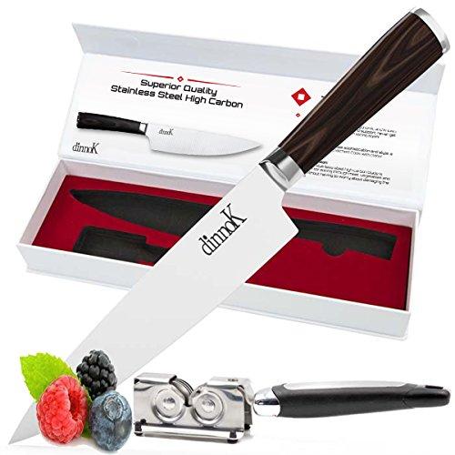 Professional 8 Inch Chef Knife Set – Ultra Sharp, High Carbon German Steel Blade with ErgonomicHandle + FREE Kitchen Knife Sharpener – Chefs Knife Cut Sushi Sashimi Fish Meat Vegetable