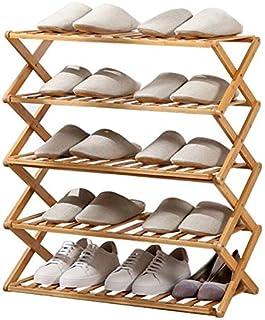 Etagère à chaussure pliable, stable, durable et non toxique de bambau,rangement chaussure commode, style à la mode, pour p...