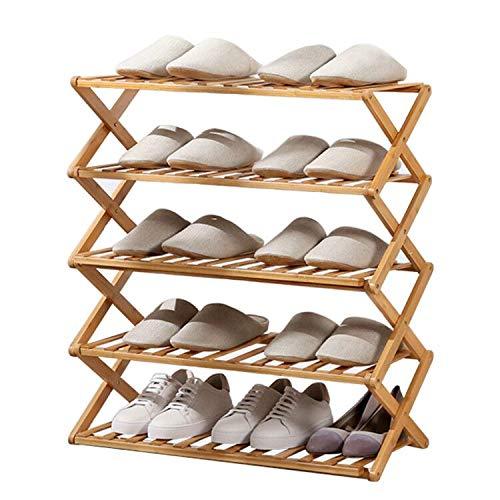 Zapatero plegable, estable, duradero y no tóxico de bambú, organizador de zapatos cómodo, estilo a la moda, para entrada, pasillo, cocina, muy fácil de instalar.
