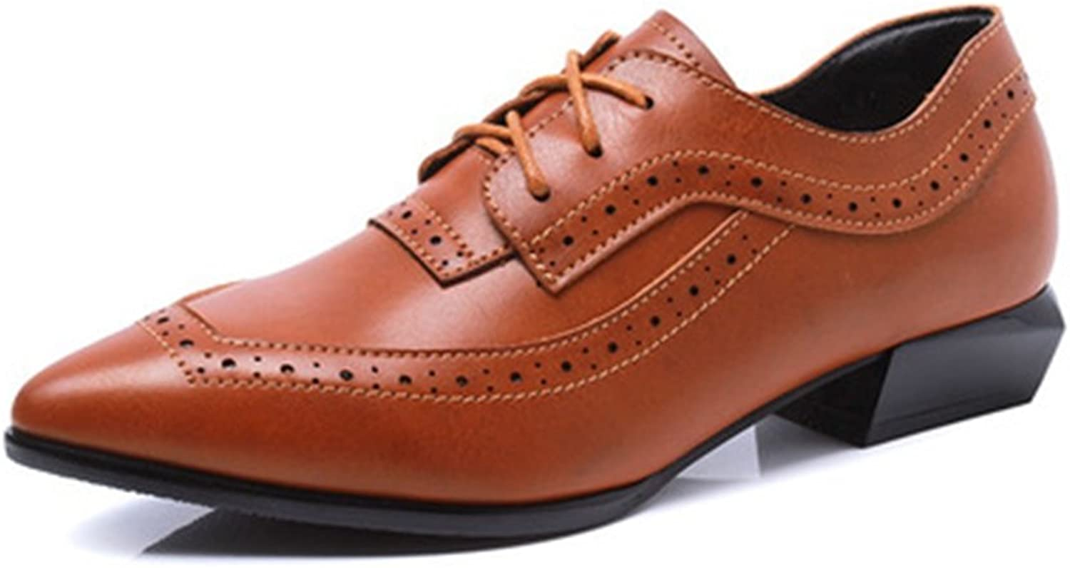 T-JULY Women's Wingtip Oxfords shoes - Comfy Low Heel Pointed Toe Lace-up Perforated shoes