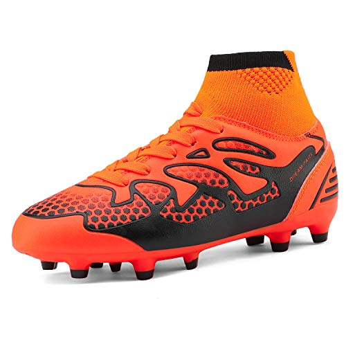 DREAM PAIRS Little Kid 160858-K Orange Black Fashion Soccer Football Cleats Shoes Size 3 M US Little Kid