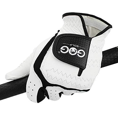 zyr Herren Golfhandschuh Atmungsaktive Herrenhandschuhe aus echtem Leder Linke Hand Passend Klein Mittel, Auf der rechten Hand getragen, XXL - Größe 27