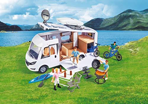 Dickie Toys Playlife-Camper Set, Hymer Camping Van B-Klasse, Wohnmobil, Dach, Seitenpanel, Dachfenster, Türen UVM. Zum Öffnen, inkl. Spielfigur, E-Bike, BBQ m. Leuchtfunktion, Maßstab 1:24, 30 cm