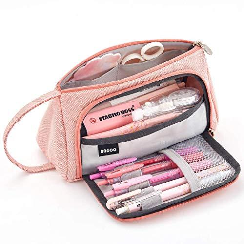 BYSOU - Estuche para lápices de gran capacidad con cremallera, color rosa