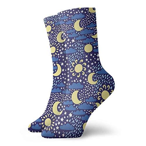 Clima Sol Luna Nube Lluvia Estrella de nieve Hombres Mujeres Calcetines deportivos ocasionales Calcetines largos de novedad Regalos Calcetines unisex Calcetines deportivos Calcetines transpirables