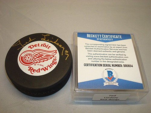 Ted Lindsay Autographed Hockey Puck - Beckett BAS COA 1C - Beckett Authentication - Autographed NHL Pucks