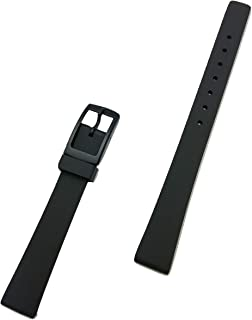12mm Black Rubber Polyurethane (PU) Material Watch Band - Comfortable and Durable PU Material