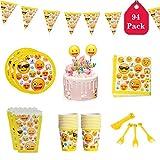 Amycute 94 -teiliges Party-Set Kindergeburtstag Partydekoration mit Banner, Pappteller, Tassen,...