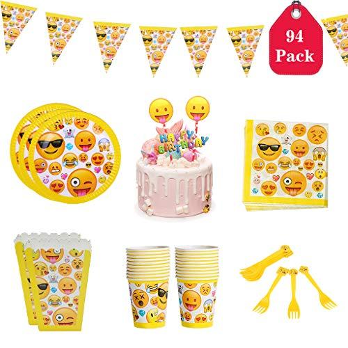 Amycute Set da 94 Pezzi di Emotion Decorazioni, Piatti, tovaglioli, Posate plastica,Bicchieri Carta,Scatole di Popcorn,Bandiera Triangolare,Inserimento Torta Happy Birthday, per 20 Persone