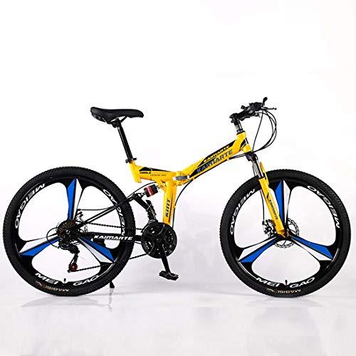 F-JWZS Unisex mountainbike, 21/24/27 Speed Dual Suspension vouwfiets, 26 inch met schijfrem - voor student, kind en volwassene