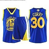 JX-PEP Uniforme de Baloncesto, 30 Conjunto de Jersey, Chaleco Camiseta Deportivo Top Sports Chaleco + Shorts,Azul,XL