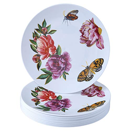 Silver Spoons Fancy Disposable Plastic Dinner Plate Set   20 PC – 10.25, Deep Pink
