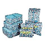 Organizador para Maleta/Equipaje, TOYESS 7 Set de Organizadores de Viajes, 3 Packing Cubes + 3 Compresion Bolsas + 1 Saco de Zapatos, Flor Sol