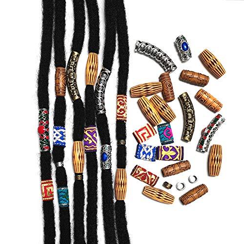 Aorola Hair Tube Beads Fabric Dreadlock Jewelry Wood-like Metal Viking Hair Braiding Accessories Women Men Locs Twists Hair Decoration