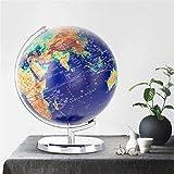 Globo Iluminado con Base, 12,6 Pulgadas 360 & deg; Globo del Mundo de la constelación de la rotación, luz LED incorporada con el Mapa del Mundo y la Vista de la constelación