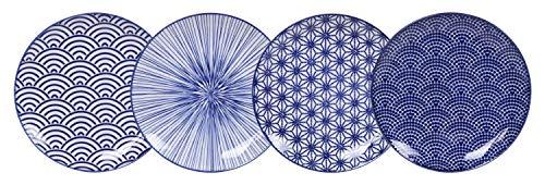Tokyo Design studio Nippon Blue - Set di 4 piatti da 4 pezzi, Ø 25,7 cm, altezza ca. 3 cm, in porcellana asiatica, design giapponese con motivi geometrici