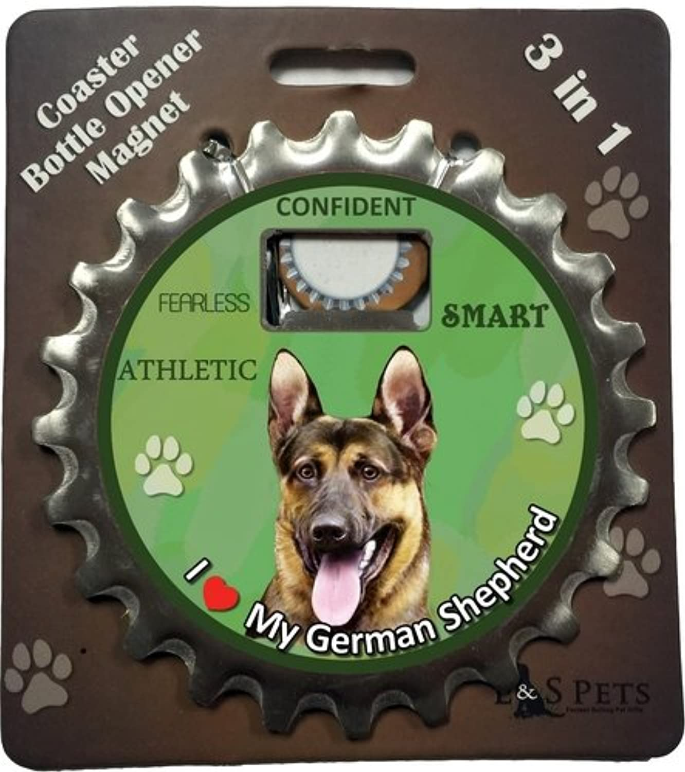 E&S Pets German Shepherd Bottle Opener, Coaster and Magnet