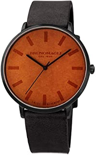 Bruno Magli Men's Roma Swiss Quartz Unique Black and Brown Italian Leather Dial Strap Watch