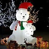 CCLIFE Muñeco hinflable de nieve LED, 120cm,180cm o 240 cm, exterior, iluminación navideña, Color:Blanco010-240cm