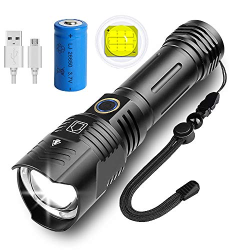 KENSUN LED Taschenlampe, Extrem Hell 6000 Lumen XHP99,5 Modi, zoombare, USB Wiederaufladbare Taschenlampe, IP67 wasserdicht, Fackel für Camping, Wandern und Notfälle (mit 5000mah 26650 Batterie)