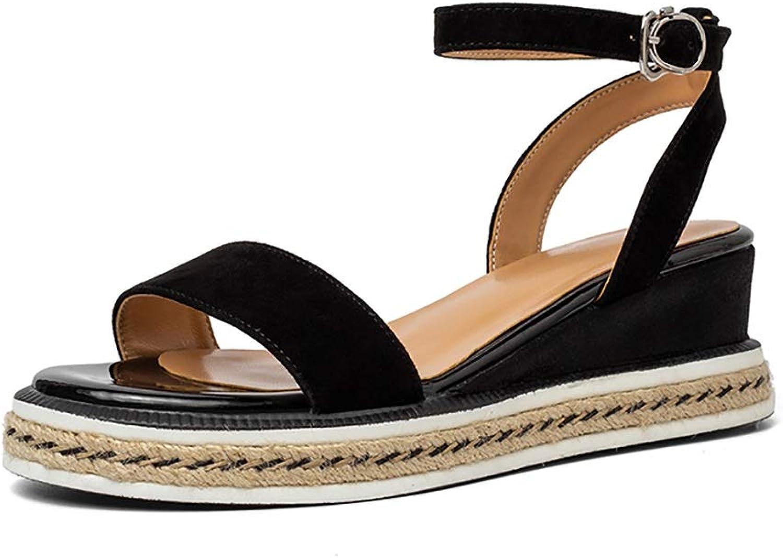 CHEXIAO Damen Sandalen Mit Keilabsatz, Sommer Handgestrickte High Heels Damenschuhe Blau Schwarz Grau 5,5 cm (Farbe   Schwarz, gre   36)