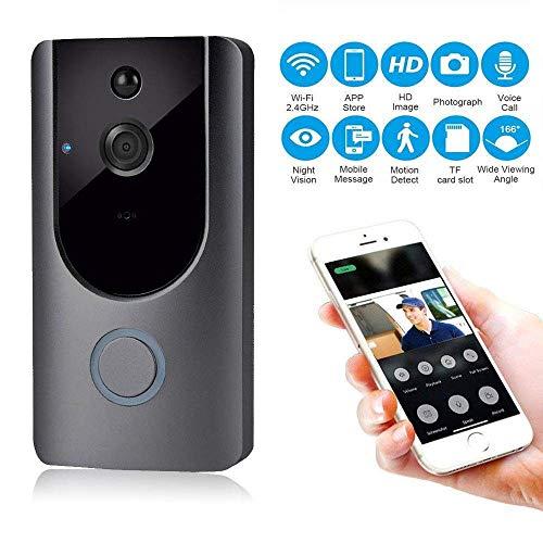 YLXD Videoportero, Video Doorbell, Wi-Fi 720P HD Timbre de Video, Audio Bidireccional, Detección de Movimiento PIR, Visión Nocturna,Conexión Burglar Reminder App For iOS Android Windows