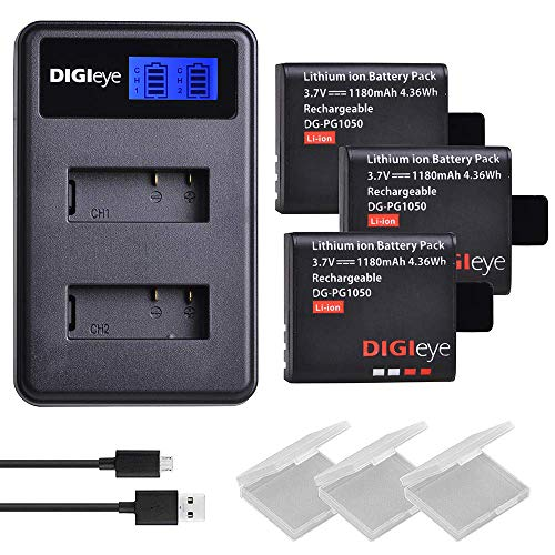DIGIeye SJ4000 Replacement Battery 3 x 1180mAh and LCD Dual USB Charger for AKASO Brave 4 EK7000 EKEN H9 H3 H9R H8PRO H8R H8 pro SJ7000 SJ6000 SJ5000 SJCAM M10 Camera PG1050 Batteries