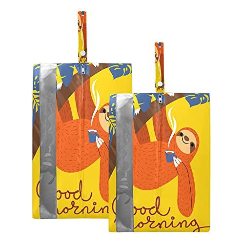 F17 Bolsas de viaje para zapatos de palma tropical, perezosos, animales, bolsa de almacenamiento, impermeable, portátil, ligera, bolsa de almacenamiento para hombres y mujeres, 2 unidades