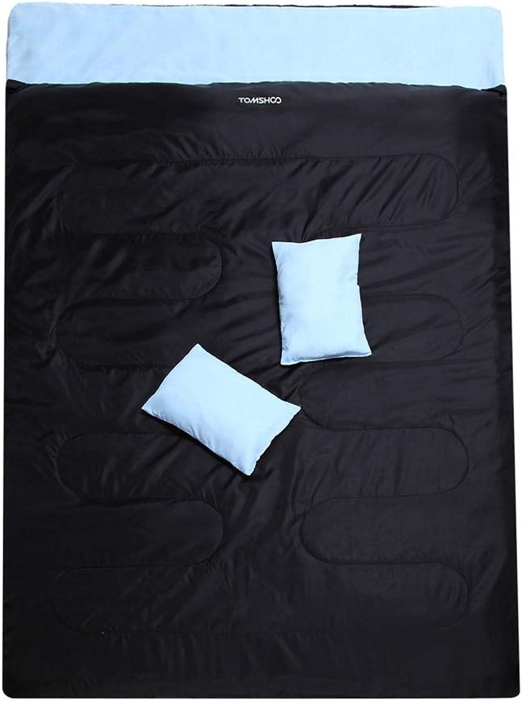 DDEET Schlafsack 86x60 Outdoor Doppel-Thermo-Schlafsack 2 Personen Kalttemperatur Schlafsack Für Camping Wandern 2 Kissen Für den Sommerherbst B07Q4HT7JP  Qualitätskönigin