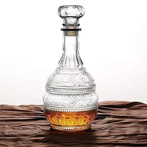MDLUU Decantador de bebidas espirituosas, decantador de cristal con tapón hermético, botella de whisky, vodka, gourbon, para regalo, hogar, bar, decoración de fiestas, 1000 ml