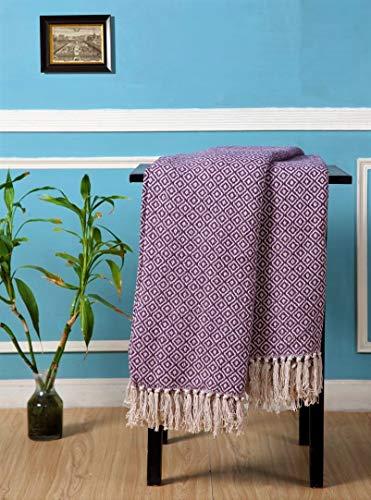 Geometrischer Sofa-/Bettüberwurf, 100 % Baumwolle, gewebt, Rautenmuster, in 6 Farben, 4 Größen (malvenfarben/cremefarben, 152 cm x 203 cm)