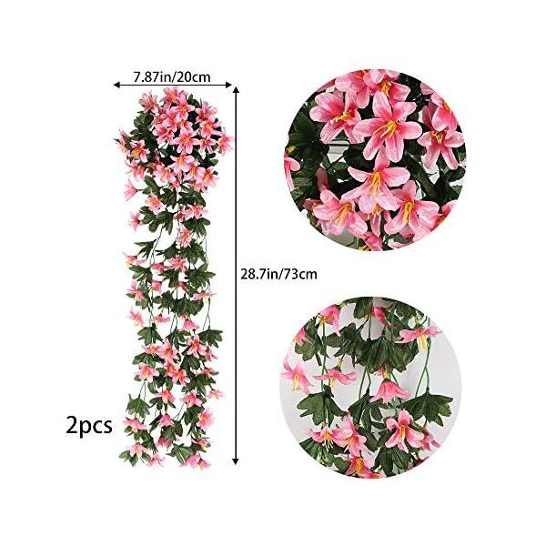 XHXSTORE 2pcs Planta Colgante Artificial Flores 80cm Flor Lirio Artificial Guirnalda Enredadera Plastico Hiedra…