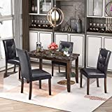 Merax Faux Marble 5-Piece Dining Table Set with 4 Thicken Cushion Chairs for Living Room, Black