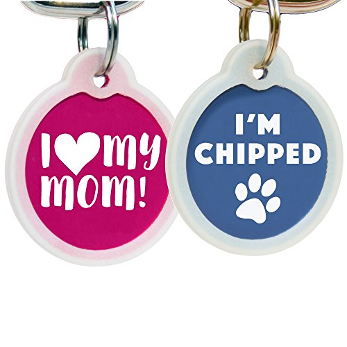 GoTags Funny Dog and Cat Tags Personalized with 4 Lines of Custom Engraved Text, Dog and Cat Collar ID Tags Come with Glow in The Dark Silencer to Protect Tag and Engraving, (I Am Chipped)