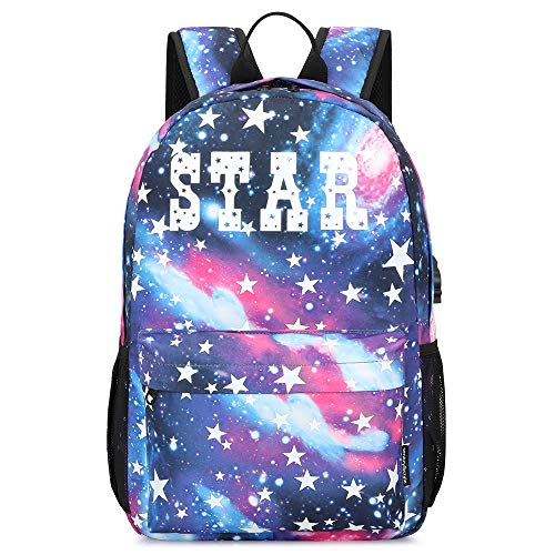 Galaxy Backpack for School, Anime Luminous Backpack College Bookbag Anti-Theft Laptop Backpack with USB Charging Port