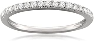 Platinum Round Diamond Micro-Pave Bridal Wedding Band Ring (1/4 cttw, H-I, VS2-SI1)