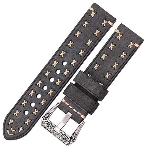 ZXF Cinturino orologio Pelle Handmade cinturini Con Retro inarcamento dell acciaio inossidabile 22 millimetri 24 millimetri Uomini cuoio genuino delle donne della cinghia del cinturino Belt Watch Picc