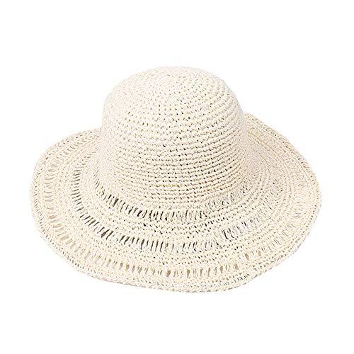 Mujer Sombrero de Paja Sombrero de Playa de Sombrero para el Sol Protector Solar de Verano para Vacación Sombrero(Beige, Caqui,Blanco)