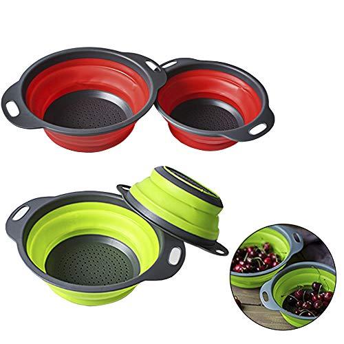 Wenlai 4 Piezas Coladores Plegables Redondos el Plastico, Coladores Cocina, Colador de Cesta de Drenaje, Cocina Cesta de Verduras, Drenar Pasta, Verduras, Frutas(Verde, Rojo)