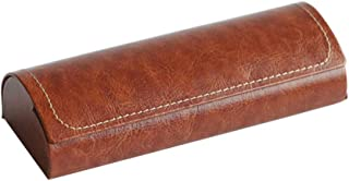 HEALLILY Hard Shell Eyeglasses Cases Leather Eyeglass Case Protective Case for Glasses (Brown)