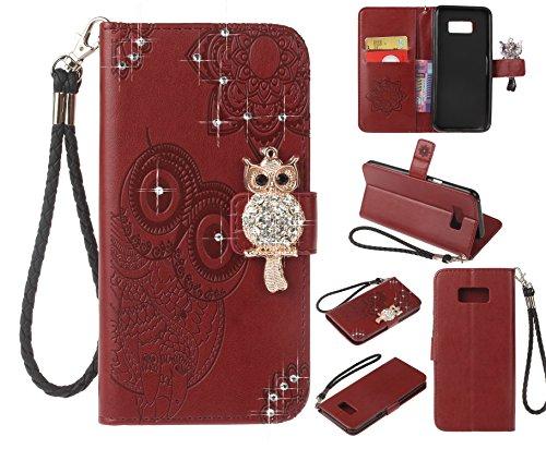Artfeel Glitzer Diamant Brieftasche Hülle für Samsung Galaxy S8, Geprägt Eule Blume Leder Flip Kartenhalter Hülle,3D Bling Strass Magnetverschluss mit Handschlaufe Stand Handyhülle-Rot Braun