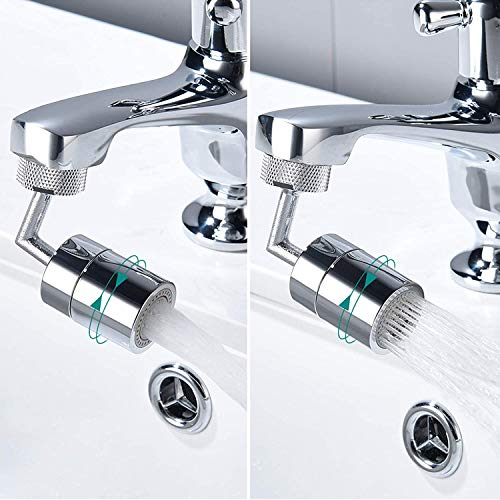 Universal Splash Filter Faucet, 720° Rotate Faucet Aerator Sink, Big Angle Large Flow Aerator Dual Function Faucet Aerator for Kitchen Bathroom (2PCS)