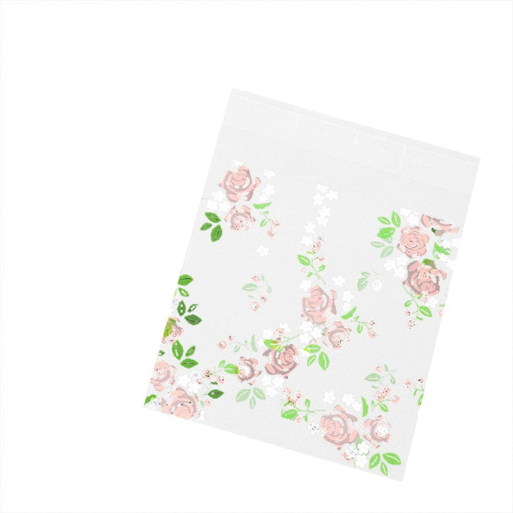 Gespout 100Pcs Rose Flower Self-adhesive Baking Bag Plastic Cookie Bags Biscuit Packaging Bag Cellophane Gift Bags Favour Bag