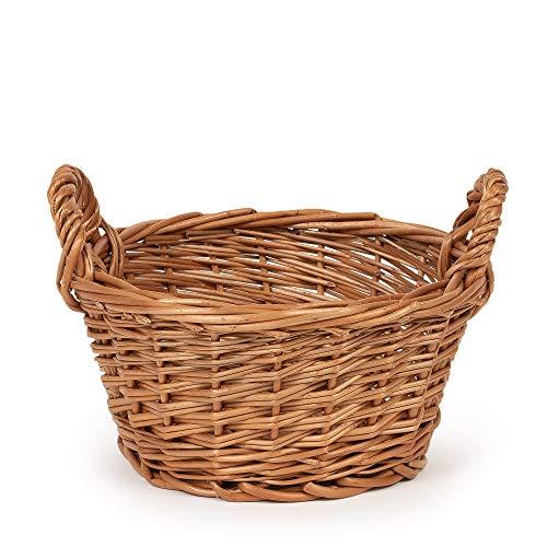 TYSK Design Küchenkorb klein (Größe und Form wählbar) 21 cm Durchmesser - Obstkorb, Gemüsekorb, Korb geflochten aus Weide